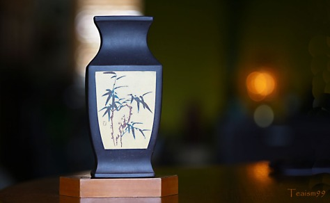 Bamboo carving on early 1970s Zisha vase